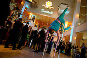 A hand balancer from Shore Circus shows off his skills during the Frostiball Benefit for the Arts at the Overture Center, Saturday, January 31, 2015.
