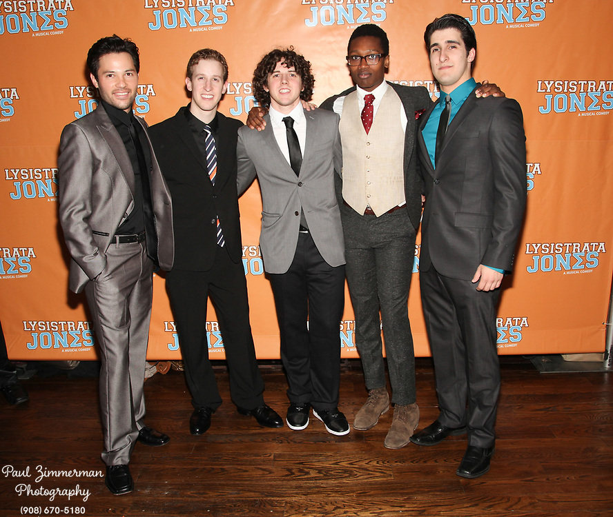 """NEW YORK, NY - DECEMBER 14:  (L-R) Jason Tam, Alex Wyse, Teddy Toye, Ato Blankson-Wood and Alexander Aguilar attend the """"Lysistrata Jones"""" Broadway opening night after party at the New Liberty Theatre on December 14, 2011 in New York City.  (Photo by Paul Zimmerman/WireImage)"""
