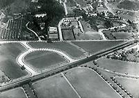 1932 Aerial view of Sunset Blvd. at Sierra Blvd. & Alta Dr. in Beverly Hills