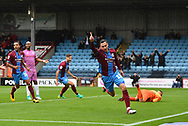Scunthorpe United forward Lee Novak (17)  celebrates scoring goal to go 1-0  during the EFL Sky Bet League 1 match between Scunthorpe United and Rochdale at Glanford Park, Scunthorpe, England on 8 September 2018. Photo Ian Lyall