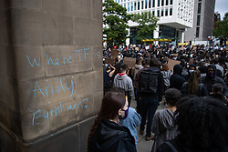 "© Licensed to London News Pictures. 07/06/2020. Manchester, UK. Chalk graffiti that reads "" Where TF is Andy Burnham "" . A Black Lives Matter demonstration against police violence is held in Manchester City Centre . Ongoing protests have and are being held in Manchester and around the world , after George Floyd was killed whilst being restrained by police in Minneapolis on 25th May 2020 . Photo credit: Joel Goodman/LNP"