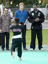 Prince Harry (blue shirt) watches a martial arts display at the Jamiyah Education Centre in Singapore.