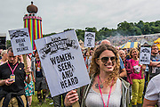 Jo Cox Memorial - Hundreds of people attend, take part in a minutes silence and are led in a verse of We shalll overcome by Billy Bragg.  The 2016 Glastonbury Festival, Worthy Farm, Glastonbury.
