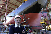 JEANIE JOHNSTON 18-4-00.Captain Mike Forwood who will captain the Jeanie Johnston across the Atlantic pictured overseeing the final work at Blennerville, Tralee yesterday.  The boat will be taken today (Wednesday) to Fenit where it will be put into the sea..Picture by Don MacMonagle