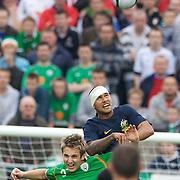Patrick Kisnorbo defending  during the friendly International between Ireland and Australia at Thomond Park, Limerick, Ireland, Wednesday, August 12, 2009. Photo Tim Clayton.