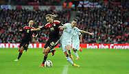 Lena Goessling of Germany Women is challenged by Karen Carney of England Women<br /> - Womens International Football - England vs Germany - Wembley Stadium - London, England - 23rdNovember 2014  - Picture Robin Parker/Sportimage