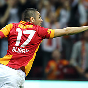 Galatasaray's Burak Yilmaz celebrates his goal during their Turkish Super League soccer match Galatasaray between Kayserispor at the TT Arena at Seyrantepe in Istanbul Turkey on Saturday, 27 October 2012. Photo by TURKPIX
