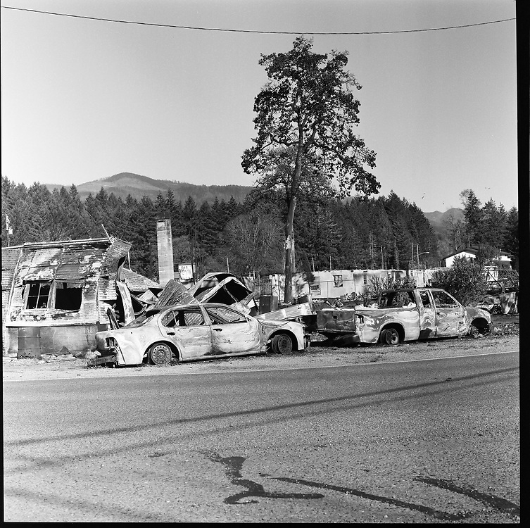 Much of the town of Gates, Oregon, burned in September, 2020, as the Santiam Fire raged over the Cascade Mountains and through the Santiam Canyon. In an unprecedented weather event where high winds met ultra-dry conditions, the Oregon Fires decimated many small towns statewide.