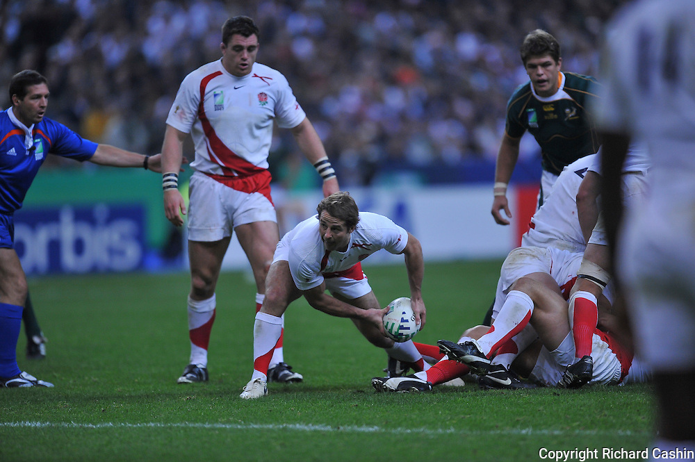 England scrum half Andy Gomarsall passes during the 2007 Rugby World Cup Final at Stade de France in Paris