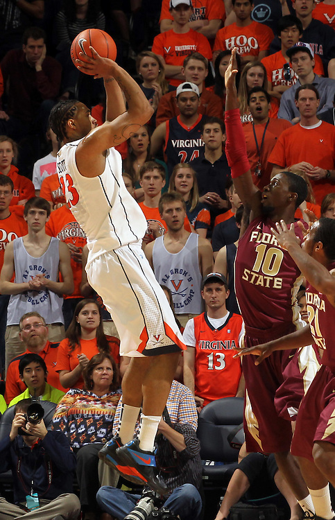 Virginia Cavaliers forward Mike Scott (23) shoots the ball during the game against Florida State in Charlottesville, Va.  Florida State defeated Virginia 63-60.