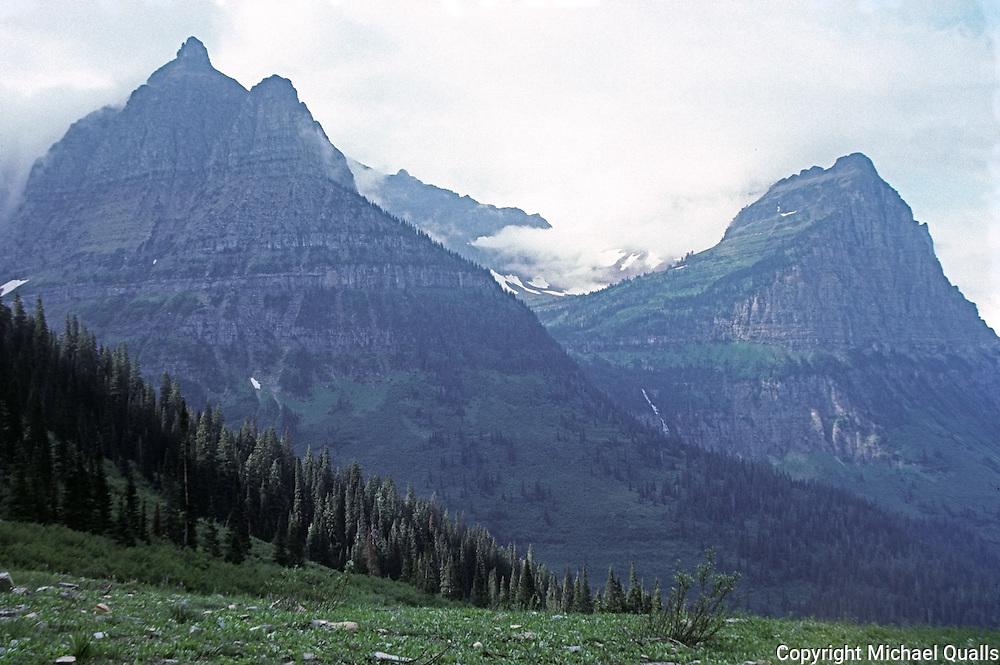 Mt. Oberlin with Bird Woman Falls hiding behind one shoulder.  Glacier NP.  Montana.  USA.