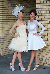 LIVERPOOL, ENGLAND - Friday, April 4, 2014: Joni Talbot and Emilee Price during Ladies' Day on Day Two of the Aintree Grand National Festival at Aintree Racecourse. (Pic by David Rawcliffe/Propaganda)