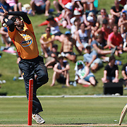 Sri Lankan cricket legend and World Record wicket taker Muttiah Muralidharan  bowling in the Otago Voltz V Wellington Firebirds HRV Cup match at the Queenstown Events Centre, Queenstown, New Zealand. 31st December 2011