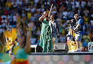 Brazilian singer Ivete Sangalo performs during the 2014 FIFA World Cup Final match at Maracana Stadium, Rio de Janeiro<br /> Picture by Andrew Tobin/Focus Images Ltd +44 7710 761829<br /> 13/07/2014