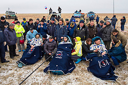 KAZAKHSTAN Near Zhezkazgan -- 02 Mar 2016 -- Scott Kelly (right) and Mikhail Kornienko (left) return to Earth after a record 340 days in space.The Soyuz TMA-18M spacecraft is seen as it lands with Expedition 46 Commander Scott Kelly of NASA and Russian cosmonauts Mikhail Kornienko and Sergey Volkov (centre) of Roscosmos near the town of Zhezkazgan, Kazakhstan on Wednesday, March 2, 2016 (Kazakh time). Kelly and Kornienko completed an International Space Station record year-long mission to collect valuable data on the effect of long duration weightlessness on the human body that will be used to formulate a human mission to Mars. Volkov returned after spending six months on the station. EXPA Pictures © 2016, PhotoCredit: EXPA/ Photoshot/ Bill Ingalls/Atlas Photo Archive<br /><br />*****ATTENTION - for AUT, SLO, CRO, SRB, BIH, MAZ only*****
