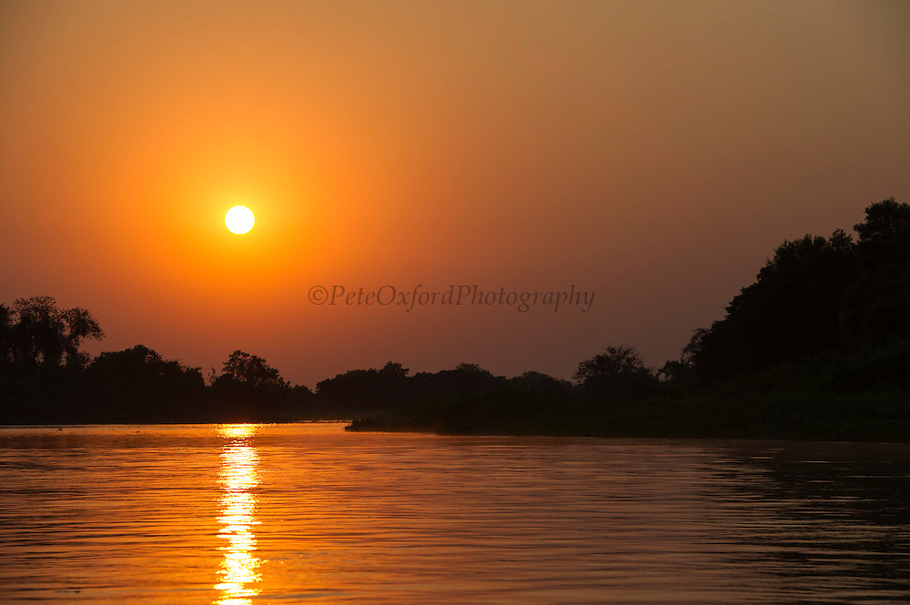 Sunrise on Cuiaba River<br /> Northern Pantanal<br /> Mato Grosso<br /> Brazil