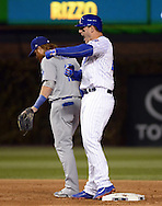 CHICAGO, IL - OCTOBER 22: Anthony Rizzo #44 of the Chicago Cubs reacts after reaching second base on a Andrew Toles #60 of the Los Angeles Dodgers fielding error in the first inning during Game 6 of the NLCS at Wrigley Field on Saturday, October 22, 2016 in Chicago, Illinois. (Photo by Ron Vesely/MLB Photos via Getty Images)   *** Local Caption *** Anthony Rizzo