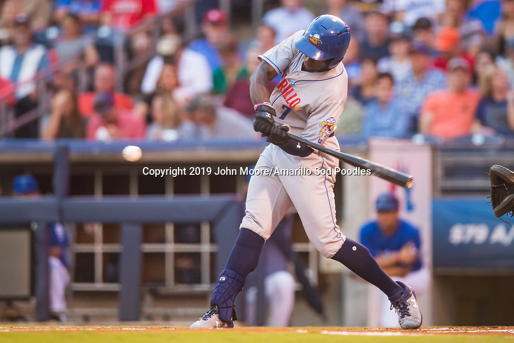 Amarillo Sod Poodles outfielder Taylor Trammell (7) hits the ball against the Tulsa Drillers during the Texas League Championship on Friday, Sept. 13, 2019, at OneOK Field in Tulsa, Oklahoma. [Photo by John Moore/Amarillo Sod Poodles]