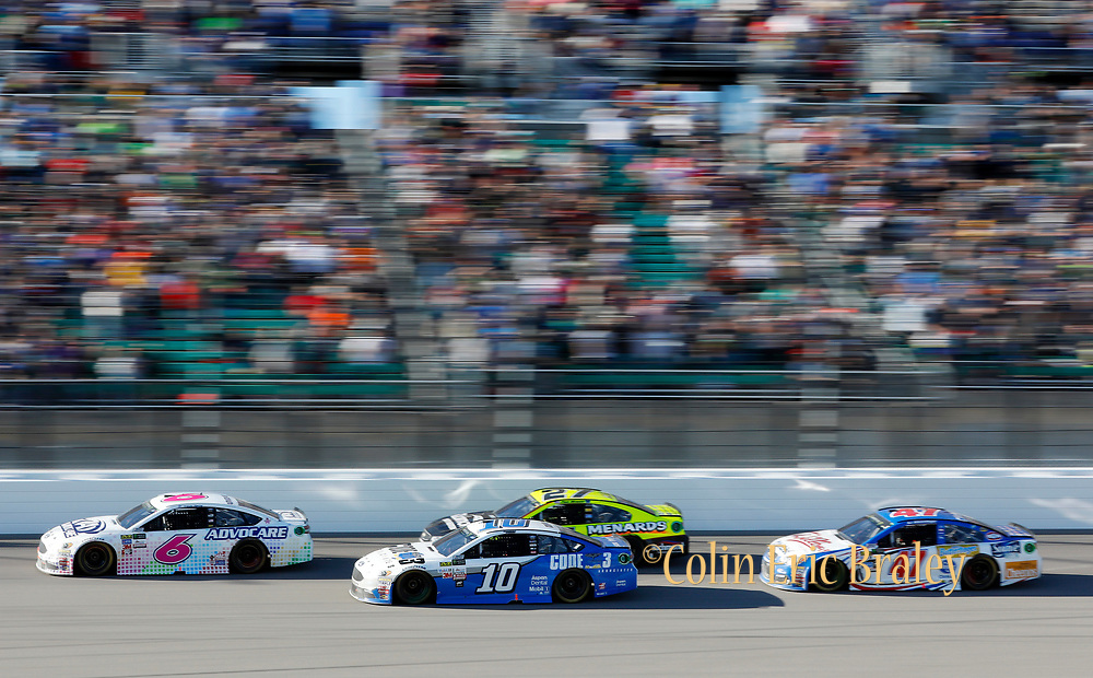 in the NASCAR Cup Series auto race at Kansas Speedway in Kansas City, Kan., Sunday, Oct. 22, 2017. (AP Photo/Colin E. Braley)