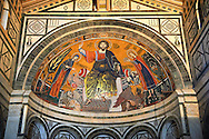 The medieval mosaic of Christ between the Virgin and St Minias (1260). .San Miniato al Monte (St. Minias on the Mountain) basilica , Florence, Italy. .<br /> <br /> Visit our ITALY PHOTO COLLECTION for more   photos of Italy to download or buy as prints https://funkystock.photoshelter.com/gallery-collection/2b-Pictures-Images-of-Italy-Photos-of-Italian-Historic-Landmark-Sites/C0000qxA2zGFjd_k<br /> If you prefer to buy from our ALAMY PHOTO LIBRARY  Collection visit : https://www.alamy.com/portfolio/paul-williams-funkystock/florence.html ..<br /> <br /> Visit our MEDIEVAL PHOTO COLLECTIONS for more   photos  to download or buy as prints https://funkystock.photoshelter.com/gallery-collection/Medieval-Middle-Ages-Historic-Places-Arcaeological-Sites-Pictures-Images-of/C0000B5ZA54_WD0s