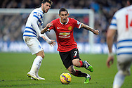 Angel Di Maria of Manchester United in action. Barclays Premier league match, Queens Park Rangers v Manchester Utd at Loftus Road in London on Saturday 17th Jan 2015. pic by John Patrick Fletcher, Andrew Orchard sports photography.