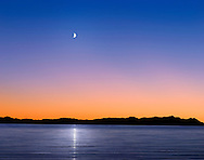 A Mythical Moonrise Over Mountains And Water As Sunset Gives Way To Twilight, Photoshop Composite