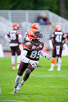 KELOWNA, BC - SEPTEMBER 8:  Chan Lual #89 of the Okanagan Sun warms up against the Langley Rams at the Apple Bowl on September 8, 2019 in Kelowna, Canada. (Photo by Marissa Baecker/Shoot the Breeze)