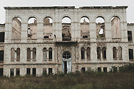 An abandoned school building, built in the early 1900s, in Shushi, Nagorno-Karabakh. In 1991 Nagorno-Karabakh broke away from Azerbaijan, declaring independence. Internationally, however, it is still recognized as part of Azerbaijan.<br /> <br /> (September 23, 2016)