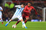 Nani of Portugal chases Nicolas Gaitan of Argentina - Argentina vs. Portugal - International Friendly - Old Trafford - Manchester - 18/11/2014 Pic Philip Oldham/Sportimage