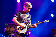 3 August 2017 – Brooklyn, NY. Singer Nellie McKay opened for Béla Fleck and the Flecktones to a large crowd at the BRIC Celebrate Brooklyn! Festival at the Prospect Park Bandshell. Béla Fleck on a Deering Crossfire banjo.