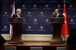 September 27, 2016 - Ankara, Turkey - Sep.27, 2016 - British Foreign Secretary Boris Johnson and Turkish Foreign Minister Mevlut Cavusoglu in Press conference, Ankara. (Credit Image: © Tumay Berkin via ZUMA Wire)