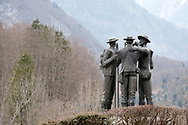 Monument to the 'four brave men' from Bohinj who made the first successful ascent of Mt Triglav (2864m), on 26 August 1778. Juliana Trail, Ribčev Laz, Bohinj, Slovenia © Rudolf Abraham