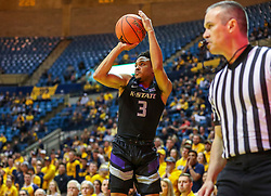 Feb 18, 2019; Morgantown, WV, USA; Kansas State Wildcats guard Kamau Stokes (3) shoots a three pointer during the first half against the West Virginia Mountaineers at WVU Coliseum. Mandatory Credit: Ben Queen-USA TODAY Sports