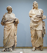 Colossal statue of a man and woman from the Mausoleum at Halikarnassos, Greek, around 350 BC From modern Bodrum, south-western Turkey. Traditionally identified as Maussollos, of the Hekatomnid dynasty. This is the best preserved of the colossal dynastic figures from the Mausoleum, even though it has been reconstructed from at least seventy-seven fragments.