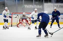 "Luka Kalan, Zan Us, Matic Podlipnik and Ken Ograjensek during practice session of Slovenian Ice Hockey National team before ""Beat Covid-19 Ice Hockey Tournament"", on May 12, 2021 in Hala Tivoli, Ljubljana, Slovenia. Photo by Vid Ponikvar / Sportida"
