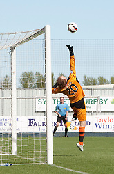 Raith Rovers keeper Lee Robinson can't stop Falkirk's Conor McGrandles's goal.<br /> half time : Falkirk 2 v 1 Raith Rovers, Scottish Championship game played today at The Falkirk Stadium.<br /> © Michael Schofield.