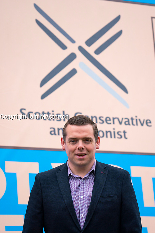 Edinburgh, Scotland, UK. 3  May 2021.  The Scottish Conservative party launch new campaign billboard ad van in Edinburgh today. Scottish Conservatives Leader Douglas Ross and former leader Ruth Davidson launched the ad van with a message urging voters to vote Scottish Conservatives on the list or peach ballot paper. Pic; Douglas Ross.  Iain Masterton/Alamy Live News