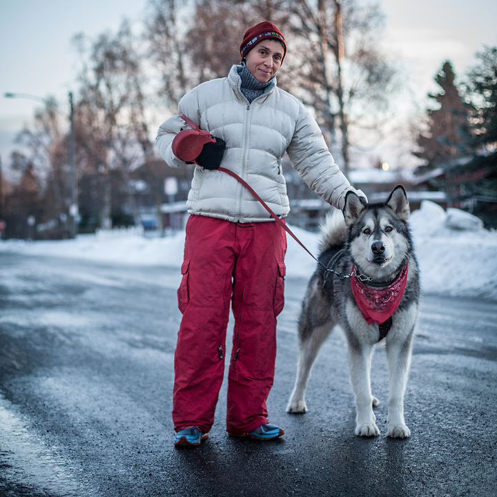CPA Nathalie Martin with her five year old malamut, Kodi, out for a run on G Street in Anchorage's South Addtion Neighborhood.  nmartin@asrc.com