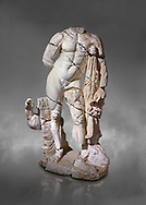 Roman statue of Hercules. Marble. Perge. 2nd century AD. Inv no . Antalya Archaeology Museum; Turkey.  Against a grey background .<br /> <br /> If you prefer to buy from our ALAMY STOCK LIBRARY page at https://www.alamy.com/portfolio/paul-williams-funkystock/greco-roman-sculptures.html . Type -    Antalya     - into LOWER SEARCH WITHIN GALLERY box - Refine search by adding a subject, place, background colour, museum etc.<br /> <br /> Visit our ROMAN WORLD PHOTO COLLECTIONS for more photos to download or buy as wall art prints https://funkystock.photoshelter.com/gallery-collection/The-Romans-Art-Artefacts-Antiquities-Historic-Sites-Pictures-Images/C0000r2uLJJo9_s0