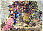 The nuptial-bower; - with the evil-one, peeping at the charms of Eden. James Gillray, James, 1756-1815, artist. Cartoon shows William Pitt escorting Eleanor Eden to a vine-shaded bower within which are three large sacks with the British pound symbol on them, possibly representing Pitt's debt. Bunches of grapes, crowns, and medallions, suspended from ribbons, hang from the bower. A devil-like creature, 'the Evil-One', representing Charles James Fox, peers around the bower from the right