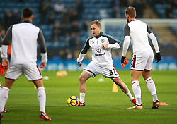 """Burnley's Scott Arfield during the Premier League match at the King Power Stadium, Leicester. PRESS ASSOCIATION Photo Picture date: Saturday December 2, 2017. See PA story SOCCER Leicester. Photo credit should read: Mike Egerton/PA Wire. RESTRICTIONS: EDITORIAL USE ONLY No use with unauthorised audio, video, data, fixture lists, club/league logos or """"live"""" services. Online in-match use limited to 75 images, no video emulation. No use in betting, games or single club/league/player publications."""
