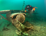 Rebreather diver on the Aircraft Cessna wreck at Dutch Springs, Scuba Diving Resort in Pennsylvania