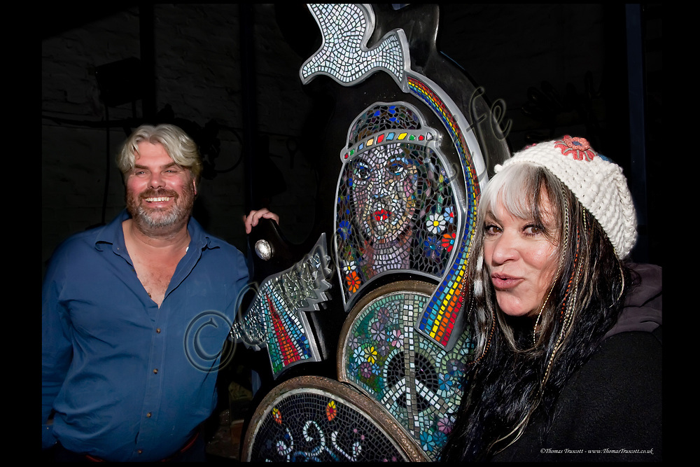 """Guy Portelli with Melanie Safka and his piece entitled """"Love and Light"""" in 2011"""