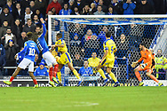 Goal - Ronan Curtis (11) of Portsmouth scores a goal to make the score 2-1 during the EFL Sky Bet League 1 match between Portsmouth and AFC Wimbledon at Fratton Park, Portsmouth, England on 1 January 2019.