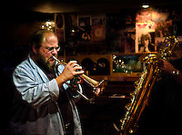 George Rabbai on Flugelhorn with Denis DiBlasio on Bari Sax at The Bus Stop Music Cafe in Pitman, NJ.