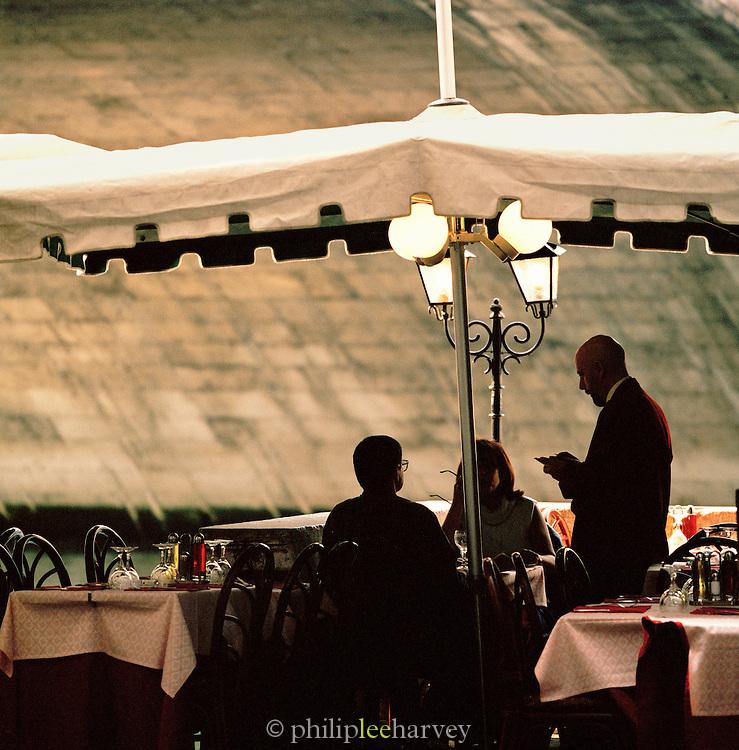 A restaurant terrace in Venice, Italy