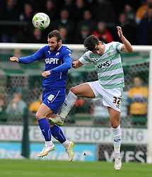 Chesterfield's Jimmy Ryan challenges for the high ball with Yeovil Town's Liam Sheppard  - Photo mandatory by-line: Harry Trump/JMP - Mobile: 07966 386802 - 03/04/15 - SPORT - FOOTBALL - Sky Bet League One - Yeovil Town v Chesterfield - Huish Park, Yeovil, England.