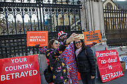 March 29, 2019 - GBR - A leave protestor wearing Union flag trousers outside Westminster in London became tourist attraction on Friday, March 29, 2019, as MPs are expected to consider and vote on a Government motion on the EU withdrawal on Friday evening. (Credit Image: © Vedat Xhymshiti/ZUMA Wire)