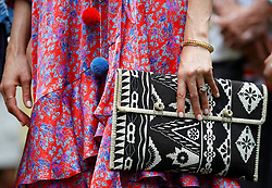 Detail of the handbag carried by the Duchess of Sussex during a visit to the University of the South Pacific in Suva, Fiji, on day two of the royal couple's visit to Fiji.