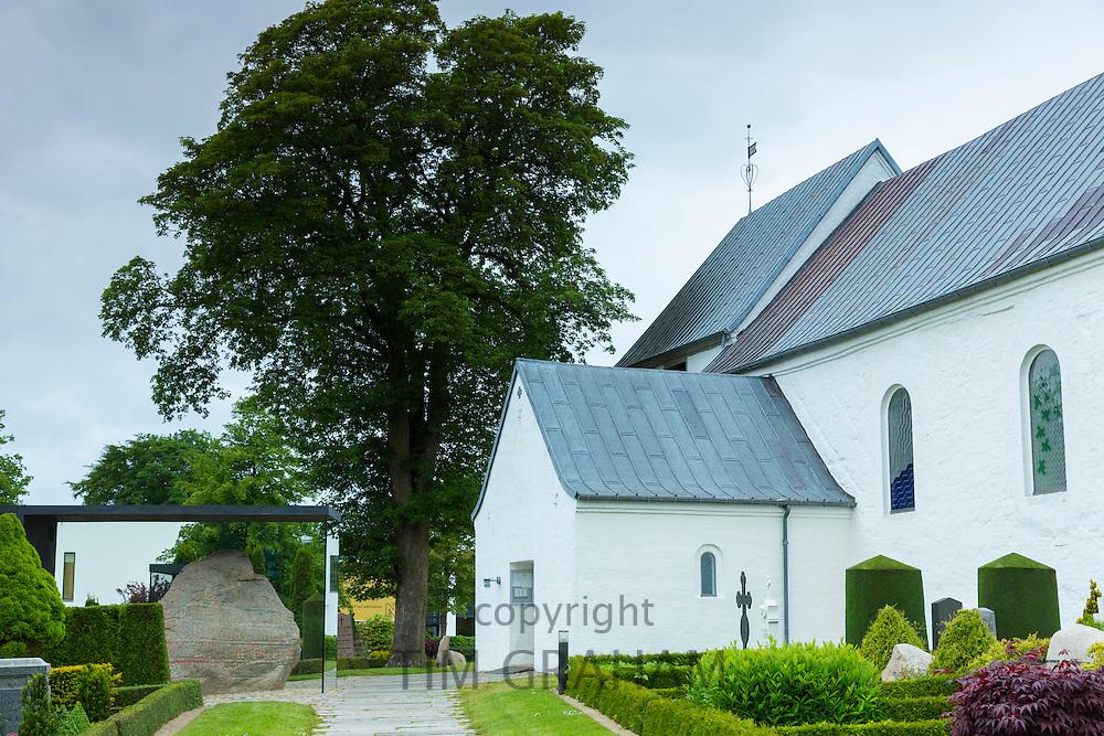Jelling Kirke church (Gudstjeneste) and Jelling Stones runestones, birthplace of Christianity in Denmark